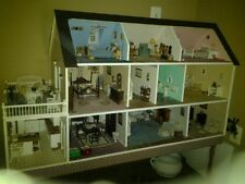 "Hand Made Custom Lighted Furnished 3 Story Doll House 11 Rooms 51""L X 18-1/2""W"