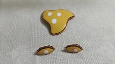 White Polka Dot Yellow Enameled Copper Oval Clip-on Earrings & Matching Brooch
