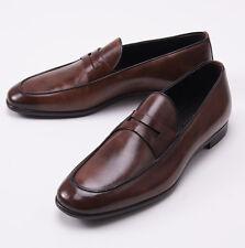 NIB $695 ERMENEGILDO ZEGNA Antique Brown Leather Loafers US 7 D Dress Shoes