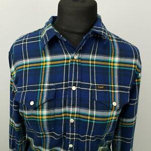 LEE Womens Vintage THICK Shirt Flannel Button-Up MEDIUM Blue Regular Cotton
