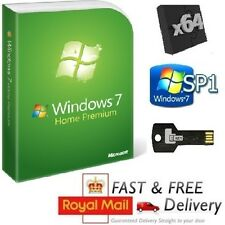 Windows 7 Home Premium 64-bit SP1 Full Version & License COA Product Key on USB