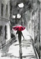 Night lights Rain Umbrella city landscape miniature original painting ACEO sign