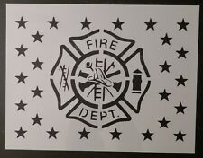 "Fire Department Flag 11"" x 8.5"" Custom Stencil FAST FREE SHIPPING"