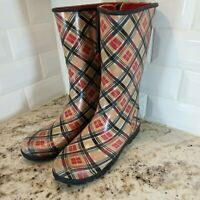 SPERRY TOP-SIDER Speedy Plaid Red pink Sz 9 Women Rubber Rain Boots