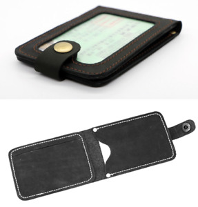 driver's license certificate card cow Leather case bag holder handmade black 905