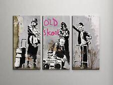 Banksy Old Skool Stretched Canvas Triptych Print. BONUS BANKSY DECAL!