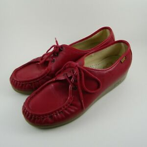 Sas Genuine Handsewn  Lace up Upper Leather Shoes Sz 10M Red ----#010