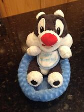 Looney Tunes Six Flags Baby Sylvester laying in pet bed RARE plush