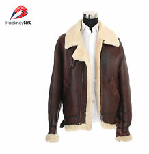Vintage B-3 Brown Leather Bomber Men's Jacket Shearling Sheepskin Biker SZ L
