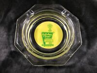 Vintage Clear Glass HOLIDAY INN Octagon Green Yellow Advertising Ashtray