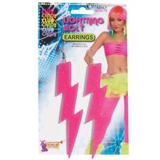 Neon Pink Glitter Lightning Bolt Pierced Earrings Plastic Rockstar 80s Costume