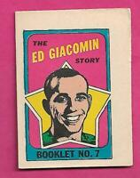 1971-72 OPC RANGERS ED GIACOMIN   BOOKLET INSERT (INV# C8471)