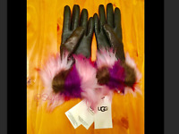 🇦🇺NWT UGG Australia Black LEATHER GLOVES PINK PURPLE FUR PATCHWORK MEdium $129