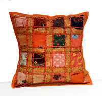 Ethnic Orange Embroidery Sequin Patchwork Sari Pillow Cushion Cover CaseAICC031O