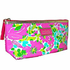 Lilly Pulitzer For Estee Lauder Pink Flowers Lipstick Makeup Zippered Clutch Bag