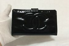 CHANEL Authentic CC Logos Quilted Long  Wallet Purse  Patent Leather Black