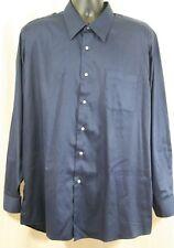 Valerio Garati Button Down Dress Shirt Men XL 17-17 1/2 34/35 Long Slv Navy Blue