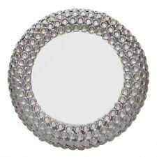 Round Wall Mirror frame raw aluminium flower design Silver Finish frame Handmade