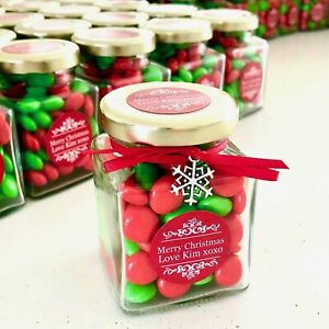 Christmas Candy Jar - Red & Green Chocolate Buttons