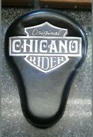 100% Custom handmade leather tooled bobber chopper solo seat chicano rider