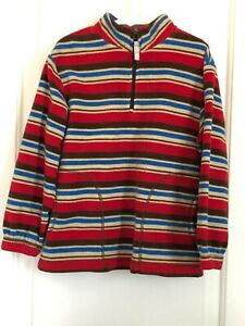Hanna Andersson boys 110 5-6 multi color stripe half zip long sleeve fleece