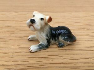 Ceramic Small Wire Haired Fox Terrier Dog Figure - 45mm in Length