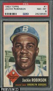 1953 Topps #1 Jackie Robinson Brooklyn Dodgers HOF PSA 8 NM-MT