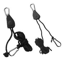 """2Pcs Rope Lock Pulley Tie Down Kayak Canoe Bow Stern Ratchet Strap 1/8"""" x 8'"""