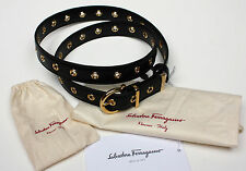 "Salvatore Ferragamo Gancio 23B218 Black Belt Calfskin Leather 38"" 95 cm skinny"