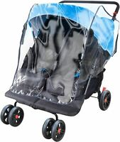 Apramo RAIN COVER FOR TWIN STROLLER Baby/Child Waterproof Travel Accessory BN