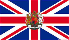 """UNION JACK WITH ROYAL CREST 18"""" x 12"""" FLOOR STANDING FLAG & WOODEN BASE"""