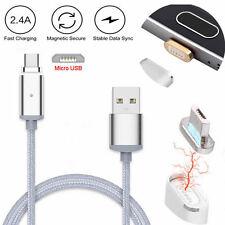 intrecciato Magnetico Micro USB ADATTATORE DI RICARICA CARICABATTERIE CAVO PER