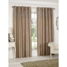"""SIGNATURE FAUX SILK FULLY LINED PLEATED TOP CURTAINS (66"""" x 72"""") GOLD EYELETS"""