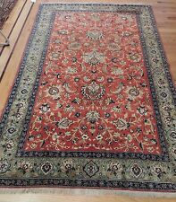5x7 SILK Antique Oriental Persian Qum Area Rug Red Striking!