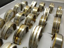 Wholesale 100pcs GOLD Mix Fashion Stainless Steel Rings Men Women Jewelry Lots