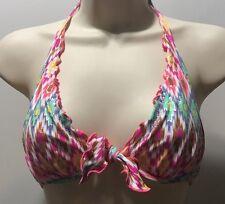 Victoria's Secret 34A High Tie Halter Metallic Neon IKat Print Ruffle
