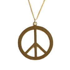 Peace Sign Charms Gold Tone Necklace Pendant with 17 inch Fine Chain