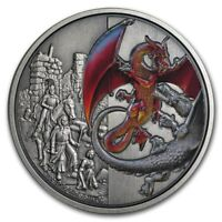 Niue - 2019 - 2 OZ  Silver Proof  Coin- Dragons - The Red Dragons