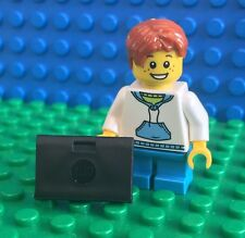 Lego BOY WITH LAPTOP School Student minifig computer Town City NEW!