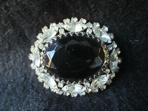 Clear Rhinestone & Black Glass Brooch/Pendant Large