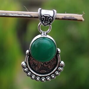 925 Sterling Silver Plated Green Onyx Handmade Pendant Jewelry DP20-127