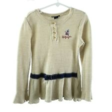 Tommy Hilfiger Girl Size 6 Sweet Oatmeal Long Sleeve Peplum Knit Henley Top