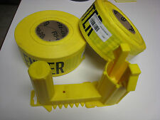 """TWO (2) ROLLS OF Yellow Caution Tape 3"""" X 1000' - With TAPE WIZ - DISPENSER  NEW"""