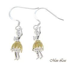 925 Sterling Silver Hawaiian Hula Girl Dancer 2T Yellow Gold Hook Wire Earrings