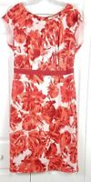BODEN womens size 10 L pink red floral cap sleeved silk fit and flare dress
