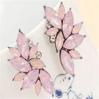 Fashion Women Dangle Ear Stud Crystal Rhinestone Flower Drop Earrings Jewelry