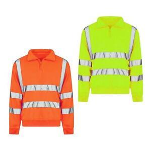 Mens Hi Viz Vis High Visibility Quarter Zip SweatShirt Work Fleece Safety Jumper