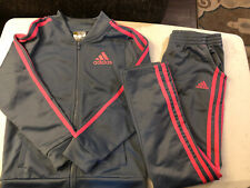 2 PC. ADIDAS GIRLS TRACK SUIT PANTS & ZIP JACKET GRAY & PINK SIZE S (7/8)