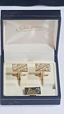 Stratton of London Cufflinks Boxed 22ct Gold Plated Bisected Rough Surface
