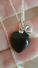 ELLE Jewelry - EMOTION Sterling Silver 16 in. Black Agate Heart Necklace